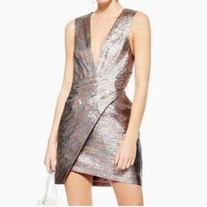 🆕 NWOT Topshop Multicolored Metallic Wrap Dress